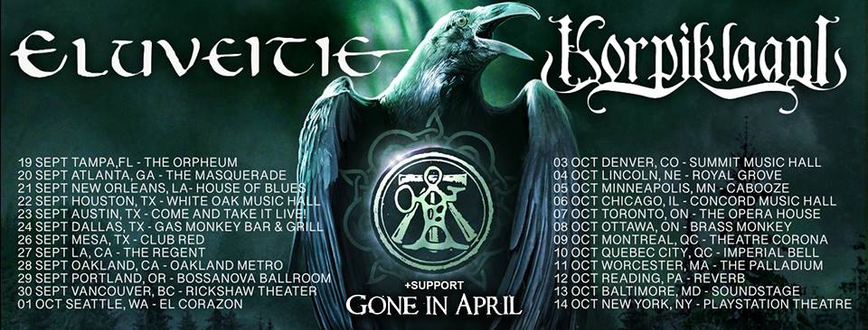 Affiche Tournée Eluveitie Korpiklaani Gone in April
